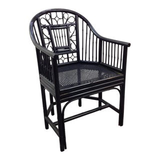 1980s Chippendale Black Bamboo Barrel Chair