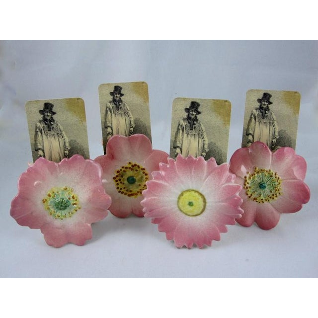 Delphin Massier French Majolica Pink Floral Place Card Holders - Set of 4 - Image 2 of 10