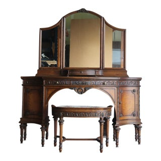 Antique French Provincial Vanity and Bench Seat For Sale