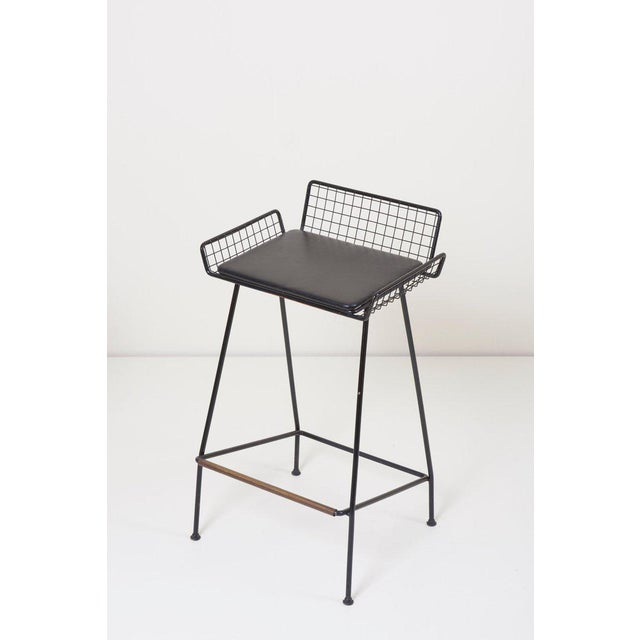 Mid-Century Modern Pair of Tony Paul Iron Bar Stools, 1950s, Usa For Sale - Image 3 of 6