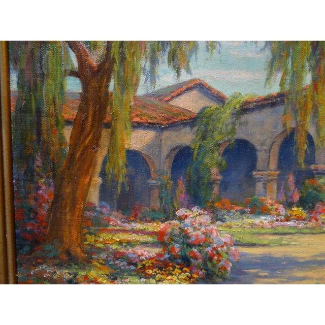 Mission Early 20th Century Antique Marius Smith Mission Floral Landscape Painting For Sale - Image 3 of 9