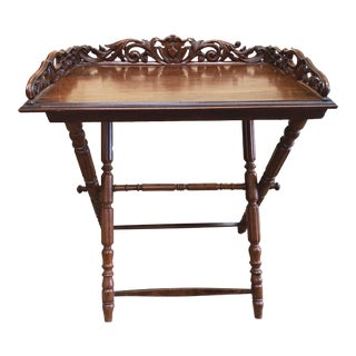 Traditional Walnut Butler Tray Table For Sale