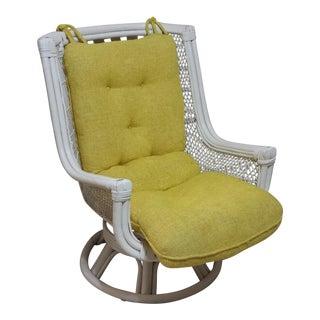 Vintage Swivel Egg Rattan Chair For Sale