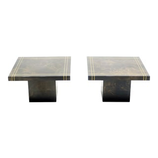 Guy Lefevre for Ligne Roset Lacquered Brass End Tables - a Pair For Sale