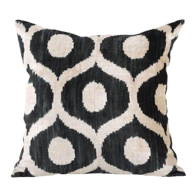 Graphite & Cream Ikat Silk Velvet Pillow - Image 1 of 3