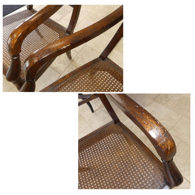 John Richard Traditional Cane Seat Regency Armchairs- a Pair For Sale - Image 11 of 13