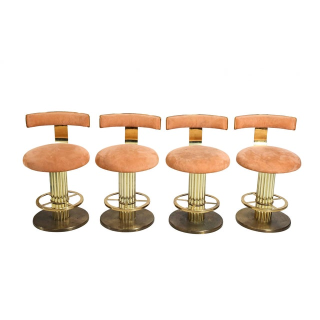 Glamorous gold and pink suede counter or bar stools manufactured by Design for Leisure in the 1980s. An opulent style with...