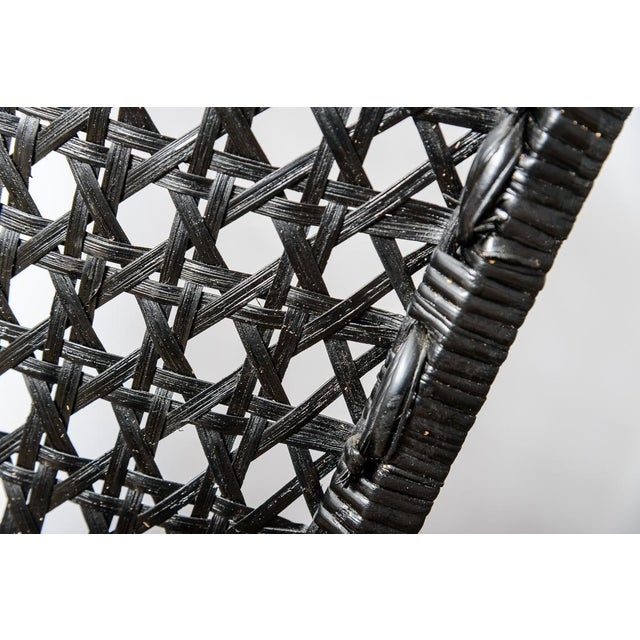Black Italian High Back Black Woven Rattan Cane Chairs by Vivai Del Sud, C.1970, A-Pair For Sale - Image 8 of 13