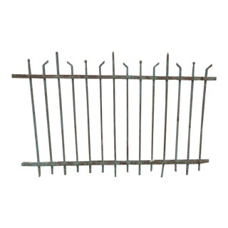 Antique Victorian Teal Iron Garden Fence Element For Sale