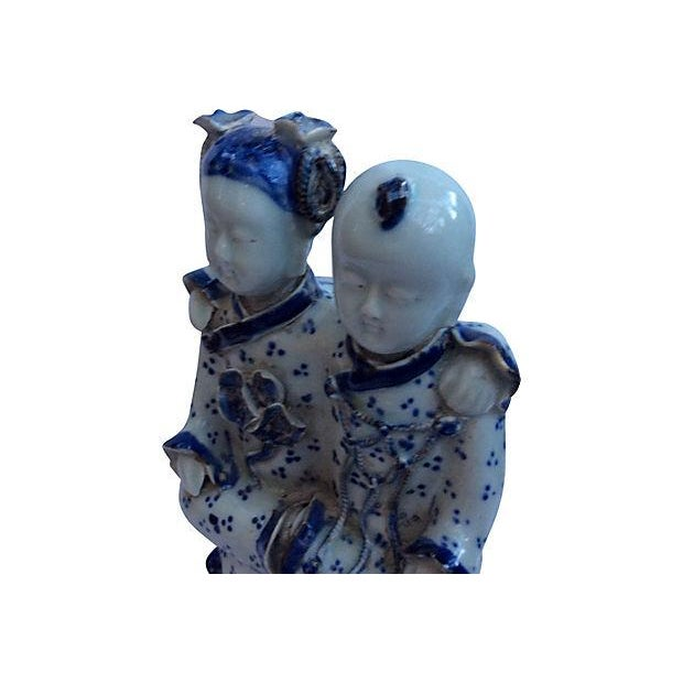 Chinese Blue & White Best Friends Figurine - Image 4 of 5