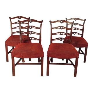 1950s Chippendale Ribbon Back Chairs - Set of 4 For Sale