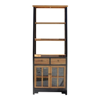 Oriental Black Brown Glass Door China Bookcase Cabinet For Sale