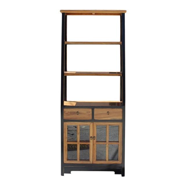 Oriental Black Brown Glass Door China Bookcase Cabinet Chairish