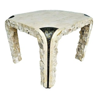 1980s Maitland Smith Tessellated Mactan Stone + Brass Side Table For Sale