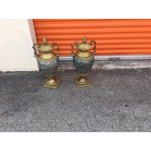 Vintage Close Marble and Bronze Vases - a Pair For Sale In Miami - Image 6 of 6