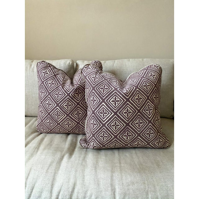 Custom made 20-inch square throw pillows in Quadrille China Seas 'Fiorentina' in Prune printed on natural Tussah silk....