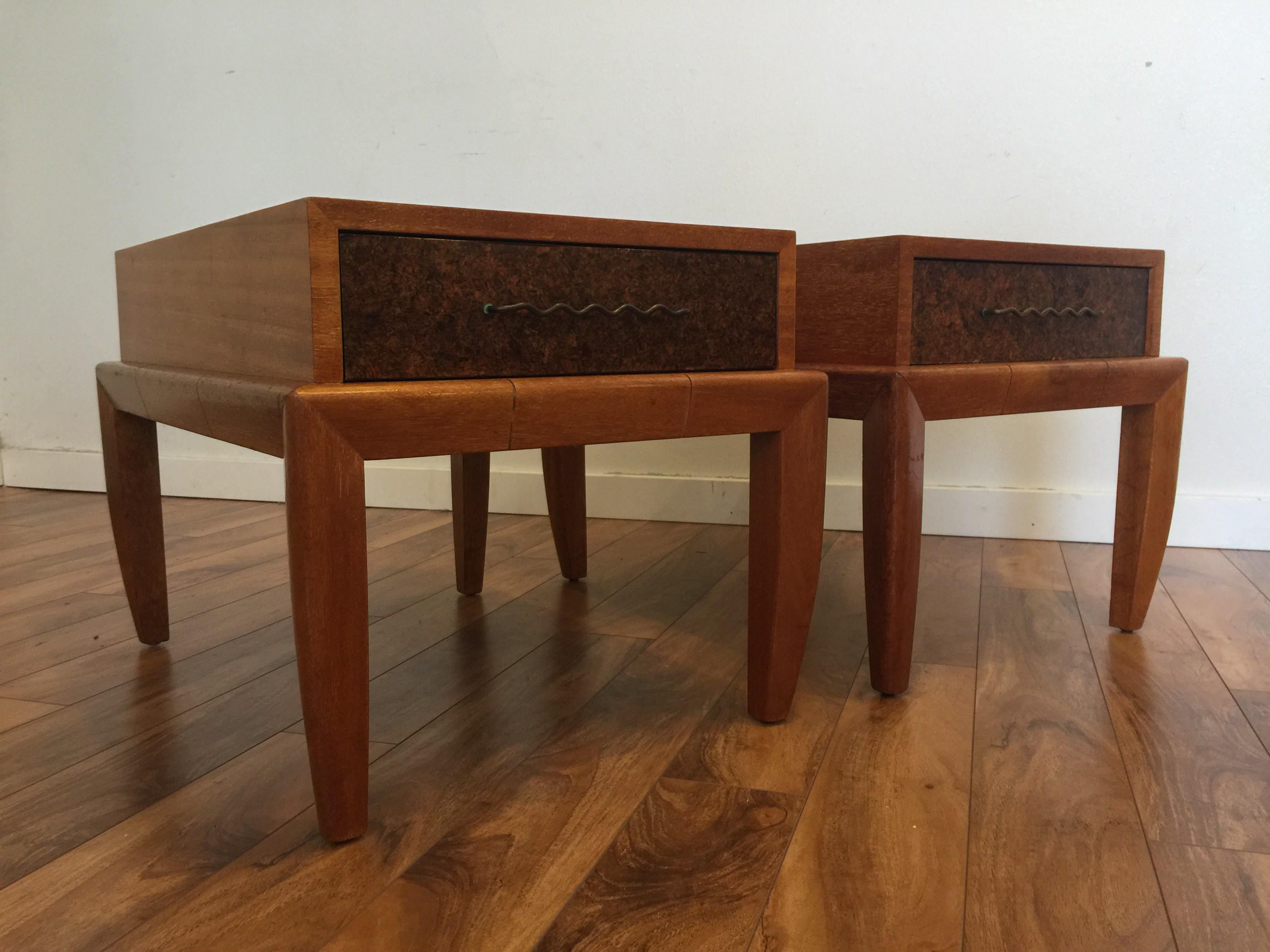 John Keal For Brown Saltman Mahogany U0026 Cork End Tables   A Pair   Image 4