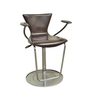 Serico Contemporary Italian Modern Brown Leather Chrome Adjust Bar Stool