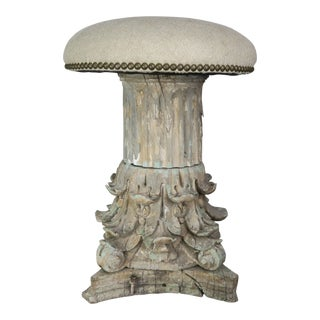 19th Century Italian Carved Capital Stool With Linen Upholstery For Sale