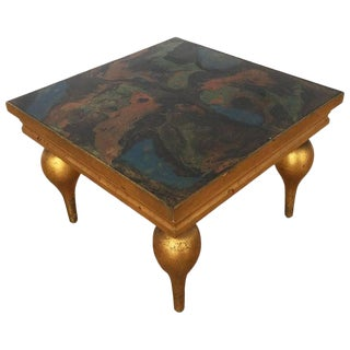 1940s Vintage Italian Mid-Century Giltwood Occasional Table With Marbleized Top For Sale