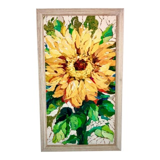 Sunflower Study I Collage Painting For Sale