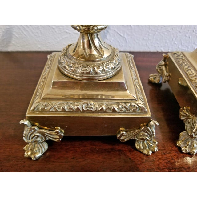 Pair of 19c French Neoclassical Style Brass Garnitures For Sale - Image 4 of 13
