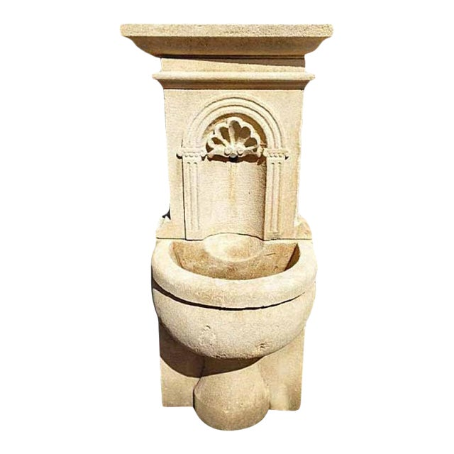 Petite Limestone Wall Fountain For Sale