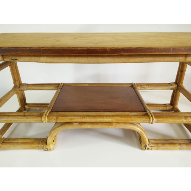 1970s Boho Chic Bamboo Coffee Table For Sale - Image 6 of 9