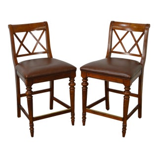Ethan Allen Regency Style Counter Bar Stools - A Pair