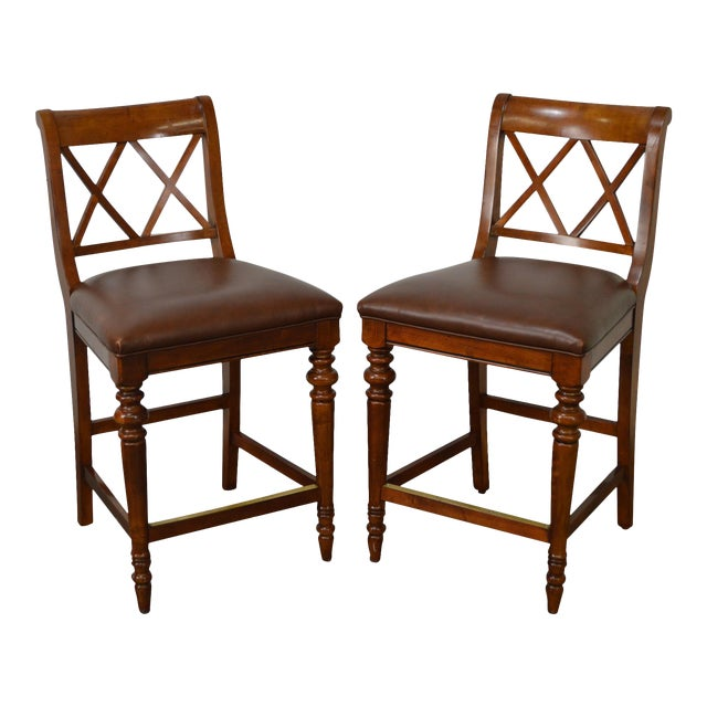 Ethan Allen Regency Style Counter Bar Stools - A Pair For Sale