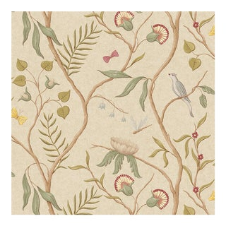 Adam's Eden Taupe Botanic Style Wallpaper Sample For Sale