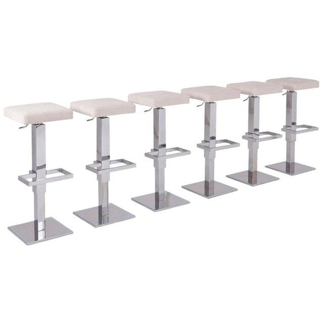 Silver Maison Jansen Chromed Steel Adjustable Bar Stools With White Velvet Seating For Sale - Image 8 of 8