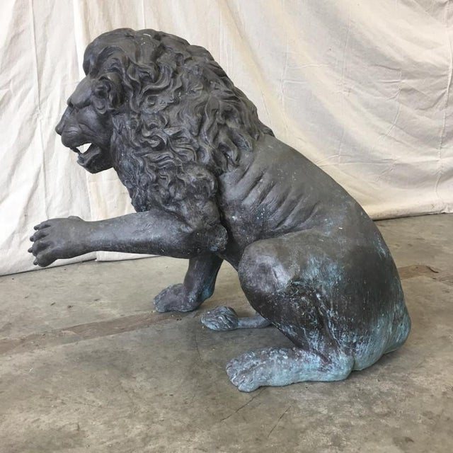 Large Bronze Seated Lion Sculpture Bronze Lion Statue For Sale In Austin - Image 6 of 8