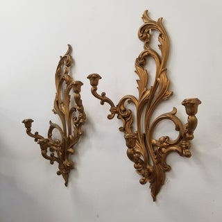 1950s Hollywood Regency Syroco Wood Wall Candle Sconces - a Pair Preview