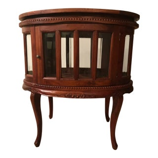 Curio Display Cabinet with Detachable Wood Tray For Sale