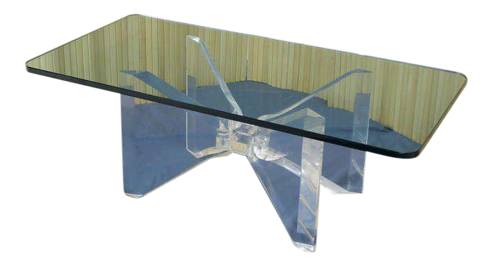 Mid Century Modern Lucite Base And Glass Top Butterfly Coffee Table For Sale