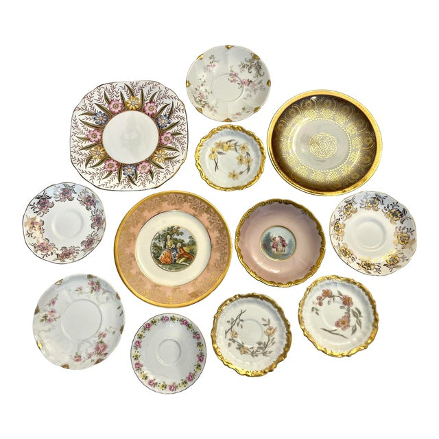 Vintage Pink and Gold Mixed Decorative Plates- a Set 12 For Sale
