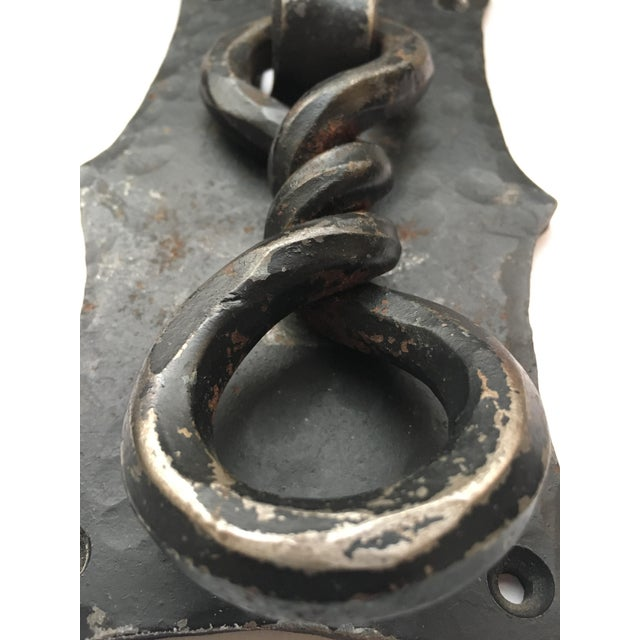 Handmade Hammered Iron With Forged Twisted Door Knocker For Sale - Image 4 of 6