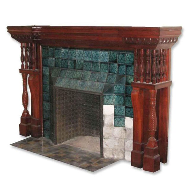 Carved Mahogany & Tile Mantel For Sale - Image 9 of 10