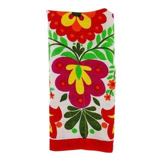 Vintage Bright Floral Linen Hand Towel