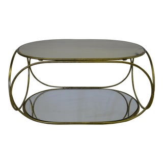 1970s Mid-Centruy Modern Marble and Metal Oval Coffee Table