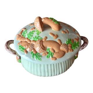 Mid-Century Shabby Chic Mushroom Trompe L'oeil Mint Ceramic Soup Tureen For Sale