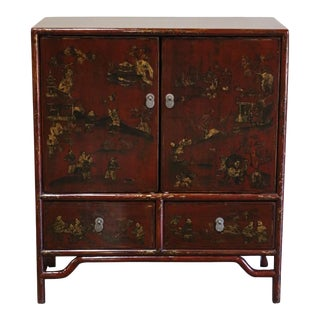 Late 20th Century Chinese Red Lacquered Cabinet. For Sale