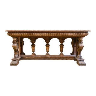 1850's Ornately Carved Mahogany Table For Sale