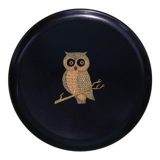 1970's Couroc Owl on a Branch Bar Serving Tray For Sale