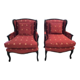 Napoleanic Bumblebee Scalamandre Upholstered Club Chairs- a Pair For Sale