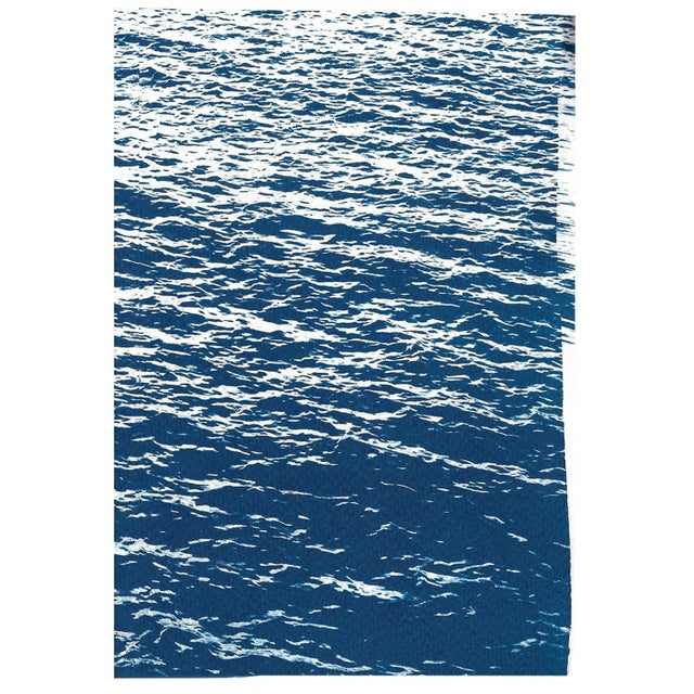 Watercolor Bright Seascape in Capri, Navy Cyanotype Triptych 100x210 Cm, Classic Blue Edition of 20. For Sale - Image 7 of 11