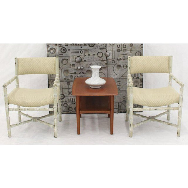 1960s Pair of Distressed Finish Faux Bamboo Capitan Chairs With X Bases For Sale - Image 5 of 13