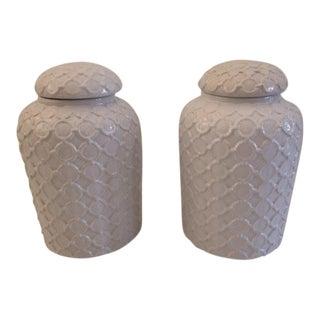 Pair of Vintage White Ceramic Palm Beach Regency Ginger Jars For Sale