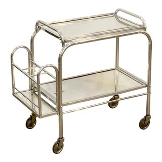English Art Deco Rolling Drinks Cart of Brushed Aluminum and Glass For Sale